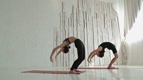 Sporty человек и женщина делая йогу ashtanga акции видеоматериалы
