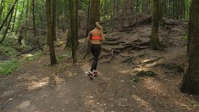 Sporty And Active Pretty Woman Running On Forest Trail, Healthy Lifestyle.