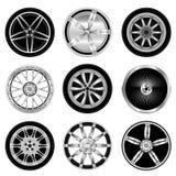 Sporty aluminum wheel. Vector set of sporty aluminum wheel Royalty Free Stock Images