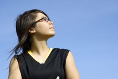Sporty asian girl look up Stock Photo