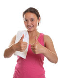 Sporty asian girl showing thumbs Royalty Free Stock Photography