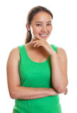 Sporty asian girl smiling to you Stock Photos