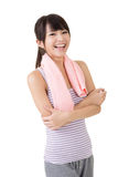 Sporty asian woman take a rest after training Royalty Free Stock Image