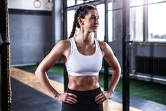 Sporty athletic woman in crossfit gym royalty free stock photos