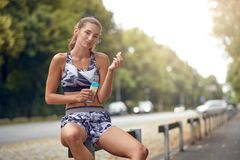 Sporty attractive slender young woman stock photos
