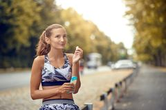 Sporty attractive slender young woman royalty free stock photo