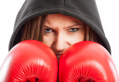Sporty and beautiful female boxer Royalty Free Stock Image