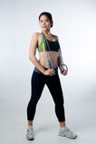 Sporty beautiful woman with skip rope Stock Image
