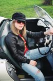 Sporty Blond In Sports Car Royalty Free Stock Images
