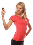 Sporty blond woman making selfie Stock Photos