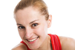A sporty blonde in red leotard Stock Images