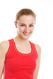 A sporty blonde in red leotard Stock Photos