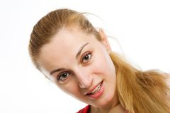 A sporty blonde in red leotard Royalty Free Stock Photos