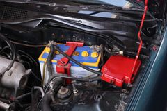 Sporty blue Car Engine. Car battery. Stock Photo