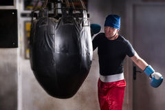 Sporty boxer with stern look in a hat and boxing gloves. Training with boxing punching bag in a gym Stock Photo