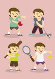 Sporty Boy Learning Sports Vector Cartoon Illustration. Set of four vector illustration of cute sporty boy learning table tennis, golf, baseball and tennis Stock Photos