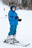 Sporty boy skiing Royalty Free Stock Photo