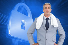 Sporty businessman with white towel Royalty Free Stock Photography