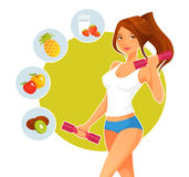 Sporty cartoon girl with dumbbells Royalty Free Stock Photos