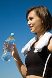 Sporty caucasian girl with water bottle Stock Photos