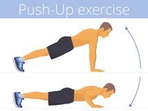 The sporty caucasian young man is doing the push-up exercise. The sporty caucasian man in the sportswear is doing the push-up exercise. Flat illustration of Stock Images