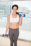 Sporty cheerful brunette holding dumbbells Royalty Free Stock Photos