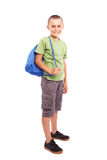 Sporty child with backpack isolated on white Stock Photo