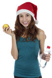 Sporty christmas woman Royalty Free Stock Photo