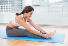 Sporty content brunette stretching Stock Image