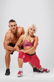 Sporty couple foot attack Royalty Free Stock Photos