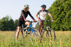 Sporty Couple On Mountan Bike Royalty Free Stock Photo