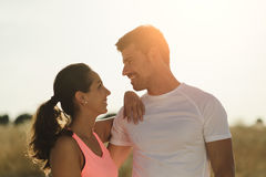 Sporty couple on outdoor running and fitness workout Stock Images