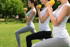 Sporty delighted women doing sport exercises Royalty Free Stock Photos