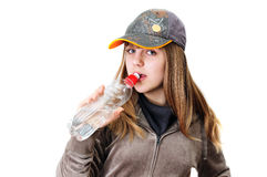 Sporty drinking girl Royalty Free Stock Images