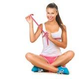 Sporty dziewczyna sprawdza pierś pomiar Obrazy Royalty Free
