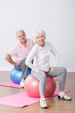 Sporty elderly couple having fun Royalty Free Stock Images