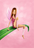 Sporty Fairy. Beautiful fairy sitting on a leaf in a sporty outfit against a pink background Stock Photo
