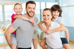 Sporty family. Royalty Free Stock Photo
