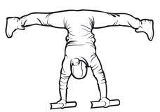 Sporty female doing street workout exercise contour Royalty Free Stock Photos