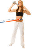 Sporty fit girl doing exercise with hula hoop. Stock Images