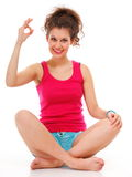 Sporty fit happy woman giving OK sign Royalty Free Stock Photography
