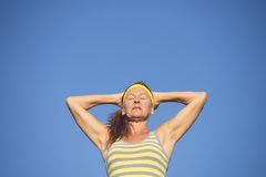 Sporty fit healthy mature woman resting Stock Image