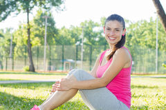 Sporty Fit Healthy Young Woman Outdoor Stock Photos