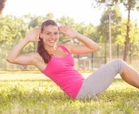 Sporty Fit Healthy Young Woman Outdoor Stock Images