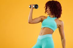 Sporty fit woman, athlete with dumbbells makes fitness exercising on white background. stock photo
