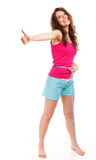 Sporty fit woman with measure tape thumbs up Stock Photography