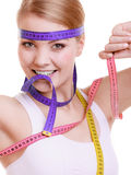 Sporty fit woman with measure tapes. Time for diet slimming. Stock Images