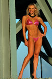 A sporty fit woman in pink bikini Stock Photography