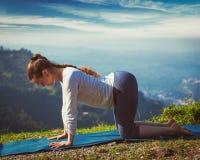 Sporty fit woman practices yoga asana bitilasana outdoors Stock Photography