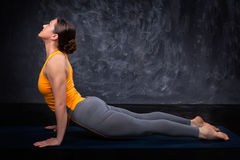 Sporty fit yogini woman practices yoga asana Royalty Free Stock Image
